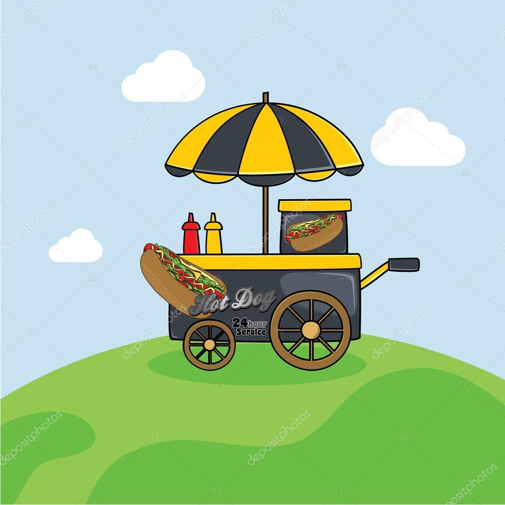 carrinho de comida dos desenhos animados vetor de stock