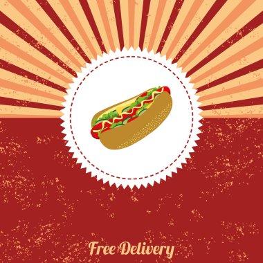 Hot dog vintage template
