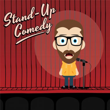 Stand up comedian cartoon character