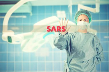 scientist in safety suit warn with word SARS vintage color