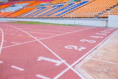 Numbers on running track  in stadium