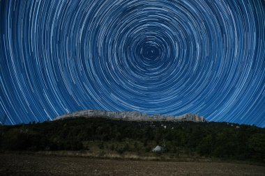 Star trail above Ceuse crag