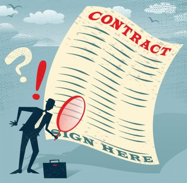Abstract Businessman inspects the contract.