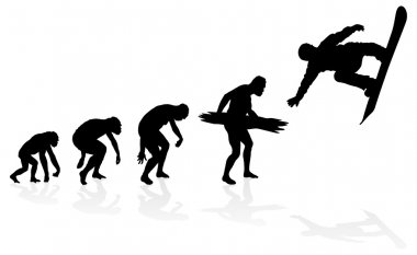 Evolution of a Snowboarder. Great illustration of depicting the evolution of a male from ape to man to Snowboarder in silhouette. stock vector