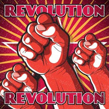 Retro Punching Fist Revolution Sign.