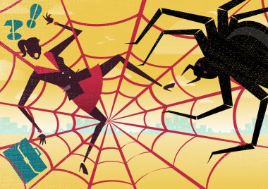 Businesswoman caught in a Spiders Web.