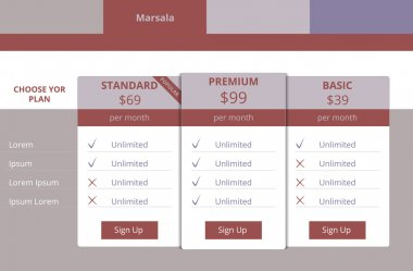 Pricing plans for websites and applications, color marsala