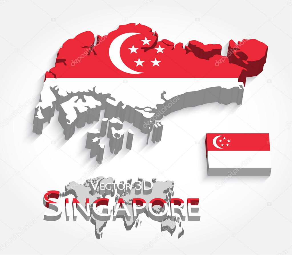 singapore 3d republic of singapore map and flag