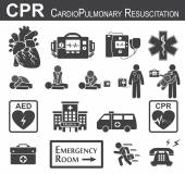 CPR ( Cardiopulmonary resuscitation ) icon ( black  white , flat design ) , Basic life support ( BLS )and Advanced cardiac life support ( ACLS )( mouth to mouth , chest compression , defibrillation )