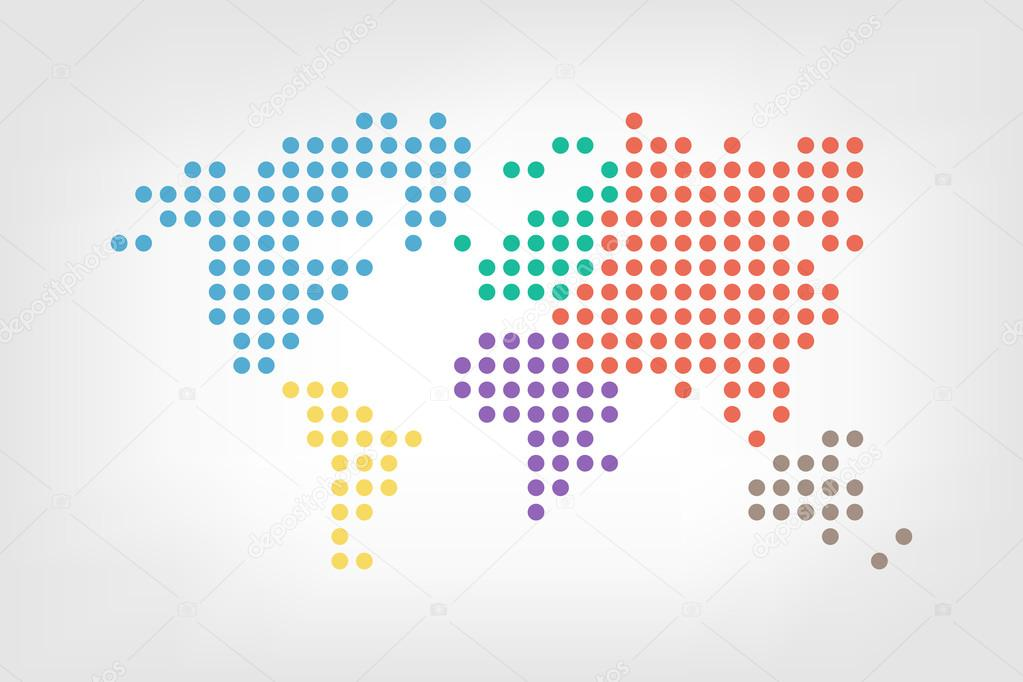 World map dotted style flat color design archivo imgenes world map dotted style flat color design archivo imgenes vectoriales gumiabroncs Gallery