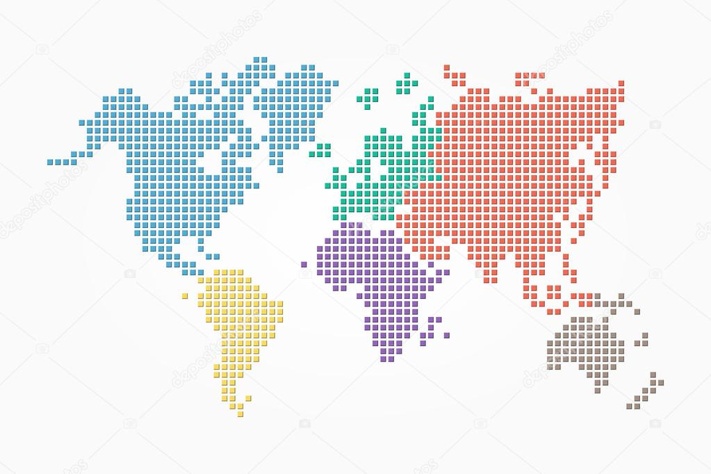 World map pixel style and flat color design different color of world map pixel style and flat color design different color of continent vector de stockdevil666 gumiabroncs Image collections
