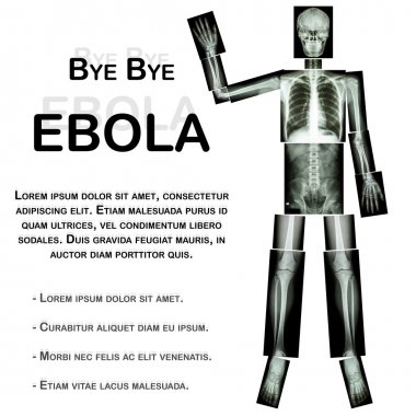 Good Bye EBOLA. (Human bone wave the hand) (Whole body : head neck spine shoulder arm elbow forearm wrist hand finger thorax heart lung back abdomen pelvis hip thigh leg knee foot ankle heel)