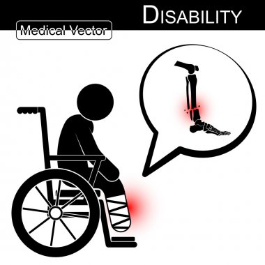 Vector Stick man with leg fracture on wheelchair and text bubble ( Disability , Physical Therapy concept ) ( Flat design ) ( Tibia and Fibular fracture )