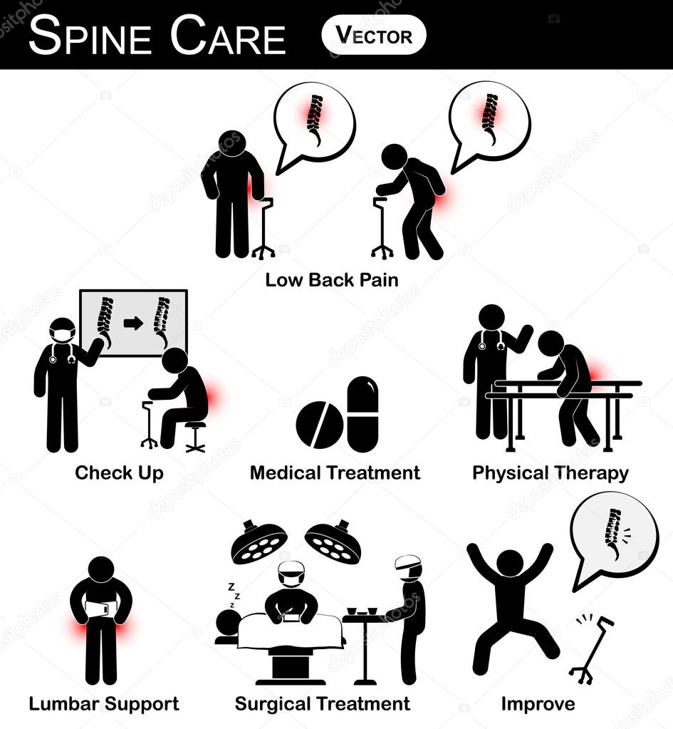 vector stickman diagram   pictogram   infographic of spine