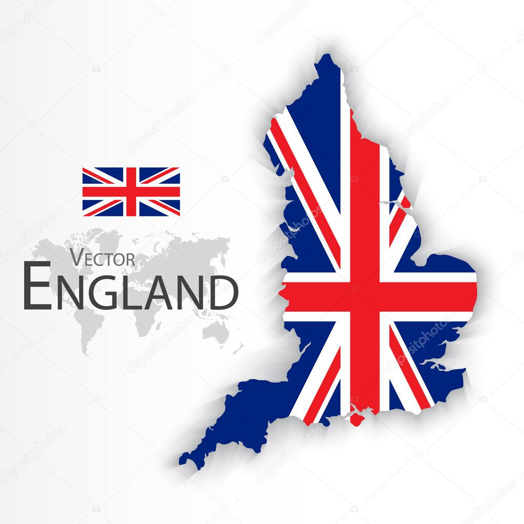england flag and map united kingdom of great britain combine
