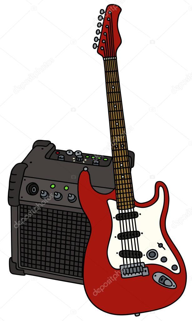 Guitare électrique rouge et le combo — Image vectorielle ...