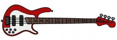 Red electric bass guitar