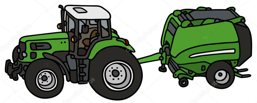 Tractor with a hay binder