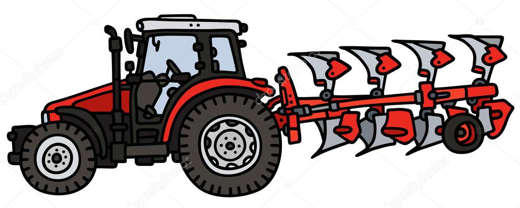 Red tractor with a plow