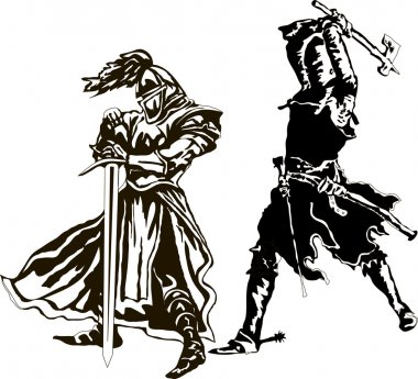 Two Knights Templar Vector