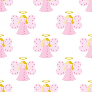 Cute angel seamless pattern