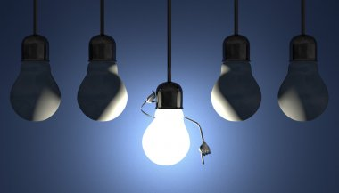Light bulbs in sockets, moment of insight on blue