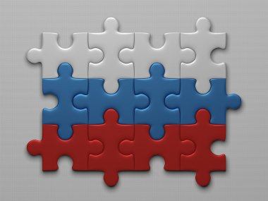 Russian flag of puzzle pieces