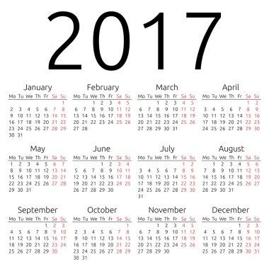 Simple vector calendar 2017