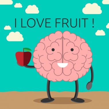Brain character with apple