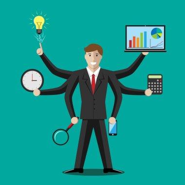 Businessman or manager, multitasking