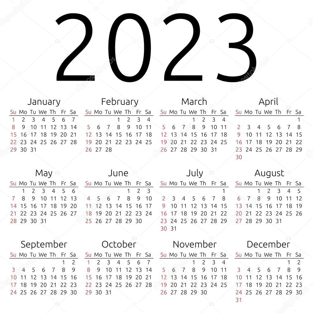 Uci 2022 2023 Calendar.Vector Calendar 2023 Sunday Vector Image By C Dmitry Guzhanin Vector Stock 90155026