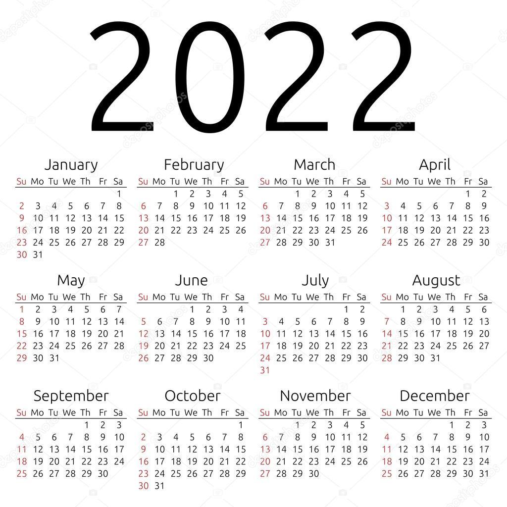 Uf Calendar 2022 23.Vector Calendar 2022 Sunday Vector Image By C Dmitry Guzhanin Vector Stock 90155212