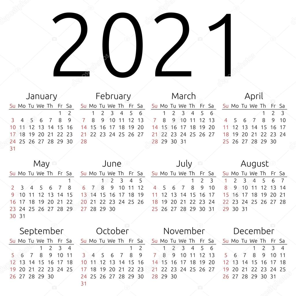 Vector calendar 2021, Sunday — Stock Vector