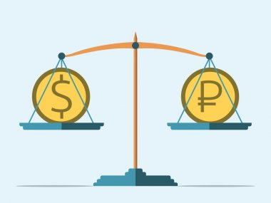 Balance, dollar and ruble