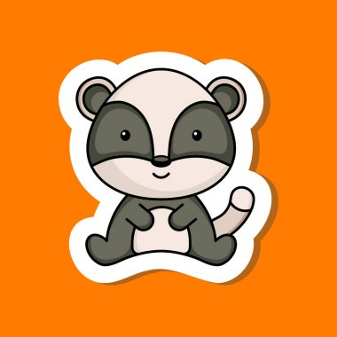 Cute cartoon sticker little badger logo template. Mascot animal character design of album, scrapbook, greeting card, invitation, flyer, sticker, card. Vector stock illustration. icon