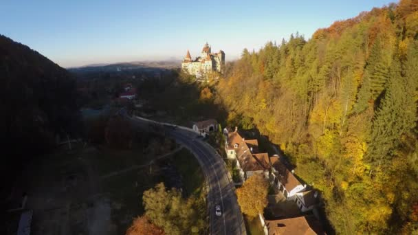 AERIAL: Aerial view of Bran Castle in the district of Brasov, Romania