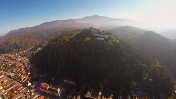 AERIAL: View of Rasnov Fortress, in Brasov county, Transylvania, Romania