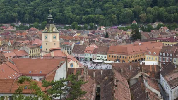 Historical  center of Brasov (Kronstadt) - time lapse static shot