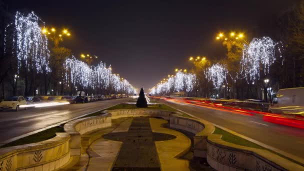 Traffic jam on Unirii Boulevard at night. Trees are decorated with lights curtain. Time lapse pan shot.