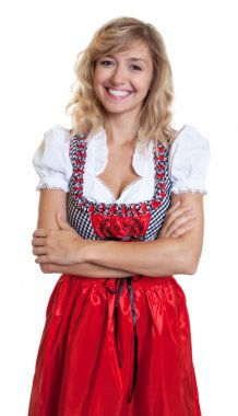 Laughing german woman in a traditional bavarian dirndl