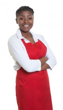 African american waitress with crossed arms
