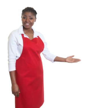 African american waitress inviting guests