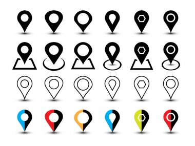 Simple basic set of location icon vector Template. icon