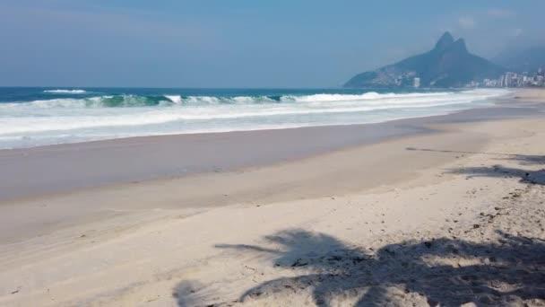 Empty ipanema beach, during the coronavirus pandemic in rio de janeiro, brazil.
