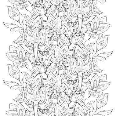 Seamless Monochrome Floral Pattern