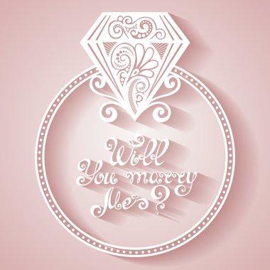 Vector Wedding Ring with Diamond
