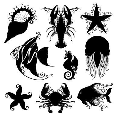 Set of Ornate Sea Animals.