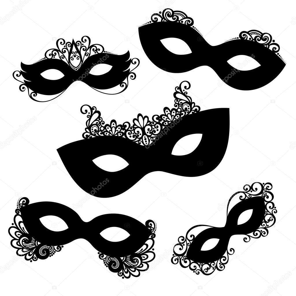 Set of 5 Ornate Mask Stencils.
