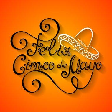 Vector Cinco de Mayo Inscription with Sombrero, Hand Drawn Holiday Lettering. Ornate Vintage Lettering clip art vector