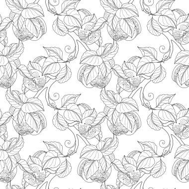Seamless Monochrome Fruit Pattern